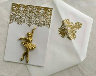 Gold Embellished Ballerina Note Card with matching envelope