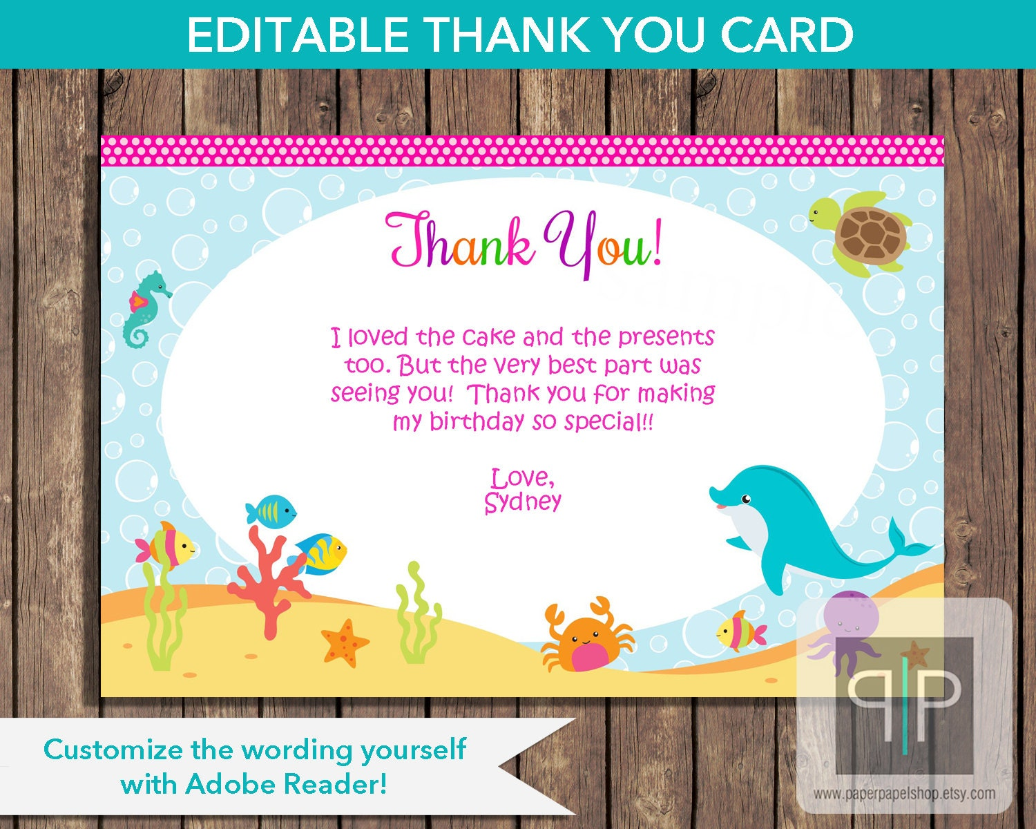 INSTANT DOWNLOAD Under the Sea Birthday Thank You Card