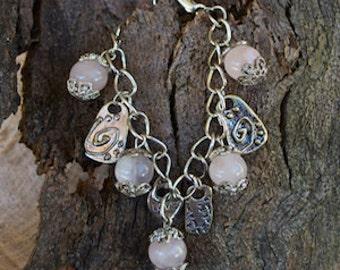 FREE SHIPPING WORLDWIDE-Rose Quartz Bracelet-Inspirational Bracelet-Pink Bracelet-Gemstone Bracelet-Adjustable Bracelet-Reiki Jewelry