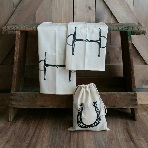 Tea Towels-Set of 2- Full Cheek Snaffle Bit -with free gift bag- Cotton Equestrian Kitchen Towel