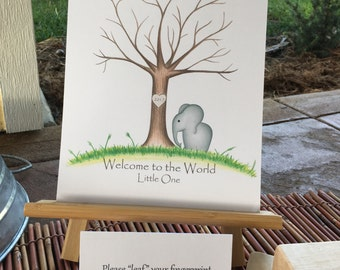 INSTANT DOWNLOAD Thumb print tree guest book with an elephant, Welcome to the World Fingerprint tree guest book, elephant theme baby shower