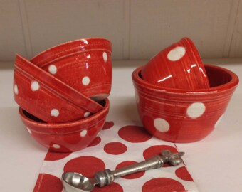 One Set of Red and White Polka Dot Prep Bowls