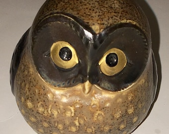 "Vintage Collectible Pottery Owl Figurine from Japan has sticker MOC Japan on bottom 3"" x 21/5"""