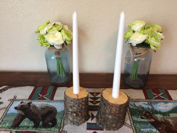 Set of 2 Rustic Lodgepole Pine with bark taper Candleholders!