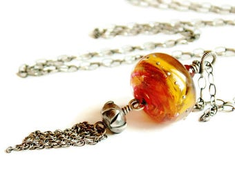 Red Yellow Artisan Lampwork Tassel Necklace // Luxe Glass Necklace // Bohemian Rustic Jewelry