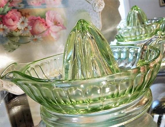 1930s Green Vaseline Uranium Depression Glass LARGE Juicer Reamer Art Deco Vintage Kitchen Cottage Home Decor Country Wedding Anchor Hocking