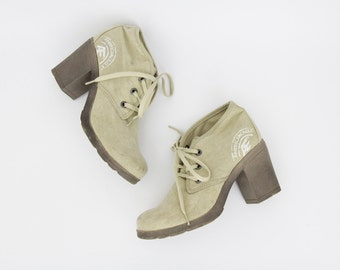 Vintage Shoes // 90's American Eagle Beige Canvas Chunky Heel Booties