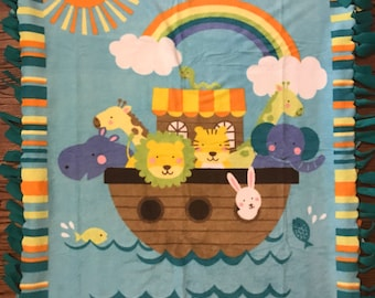 Noahs Ark Fleece Tie Blanket