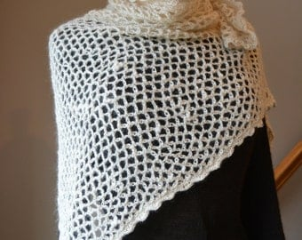 Crochet Alpaca Lace Triangle Shawl