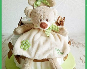 Diaper cake unisex green bears Doudou cuddly teddy