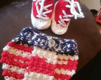 Patriotic baby converse and bloomers