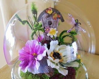 Minature Garden Cloche with Birdhouse and Dragonflies