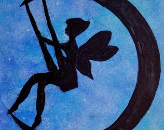 swinging on the moon silhouette acrylic painting