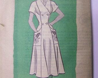 VINTAGE 1950s Mail Order Anne Adams Button-Front DRESS Pattern sz 16 bust 34  UNused