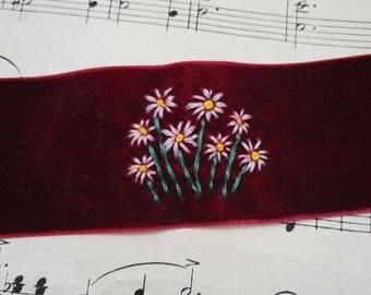 Thick burgundy velvet hand embroidered choker