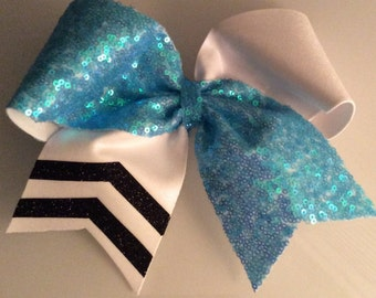 Light Blue Sequin and White with Black Glitter Cheer Bow