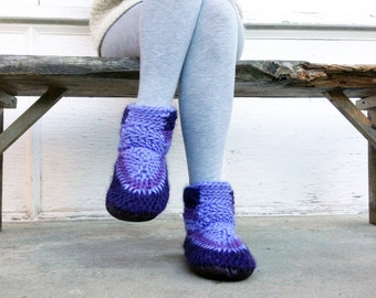 Demi-Boot: ULTRAVIOLET Wool Indoor Boots with Leather Soles, Slippers Women Men Knitted Wool Slippers Booties Mukluks Handmade Booties