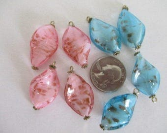 Lot of 8 Glass Beads Springtime Colors Destash Recreate Upcycle Craft Repurpose Recycle Supplies