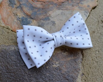 bow tie for boys, bow tie white and grey polka dots