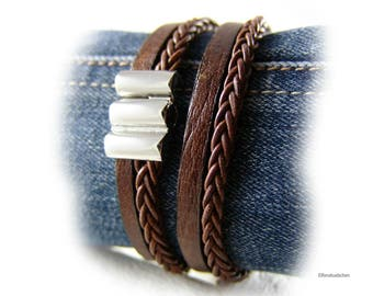 Men's braided leather bracelet brown silver stainless steel mens jewelry - gift for husband best friend brother father boyfriend dad
