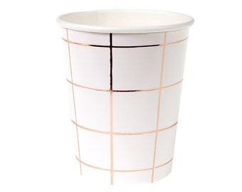 SALE Rose Gold Grid Paper Cups (Set of 8) - Meri Meri 9oz Beverage Cups Metallic Rose Gold