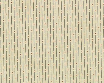 Moda Jan Patek Front Porch Cream Off White with Blue Grey Line Red Dot Fabric BTY 1 yd