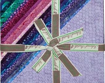 "Island Batik Dotalicious Wind Blue Purple Batiks Stacks 42 10"" Squares of Batik Fabric"