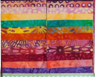 "Island Batik Blushing Blooms Purple Orange Yellow Batiks Jelly Roll Strips Pack 40 2.5"" Strips of Fabric"