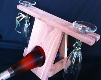 A Natural Eastern Red Cedar Countertop Wine Bottle And Double Wine Glass Holder