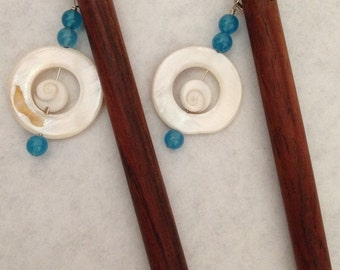 8 inch rosewood ss hair sticks with sterling silver wire wrap blue jade and shiva eye shell beads on each hair stick