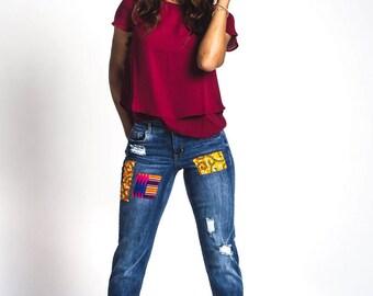 Idara African Print Jeans #DenkarabyInidara