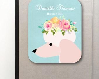 Bookplate- Pink Poodle- Sticker Label