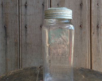 antique glass jar / blue ribbon coffee jar / kitchen decor
