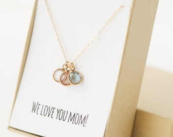 Mom Birthstone Charm Necklace - Christmas Gifts for Mom - Mom Necklace - Mom Gifts - Children Birthstones