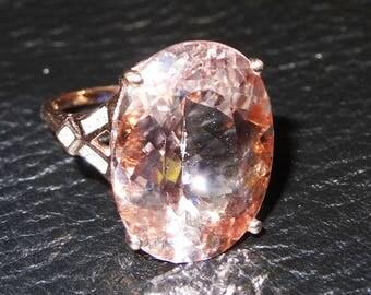 Morganite 14K Ring 16.5 Carats, Rose Gold,  Diamonds Spectacular Engagement