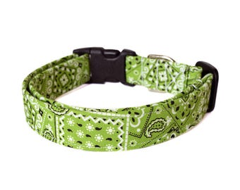 Lime Green Dog Collar, Bandana Print Dog Collar, Designer Dog Accessory, Pet Accessories, Adjustable Fabric Dog Collar, Plastic Nickel Brass