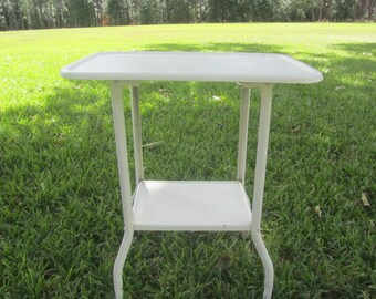 White Medical Cart, metal tray, rolling table, home bar, bar cart, rolling table