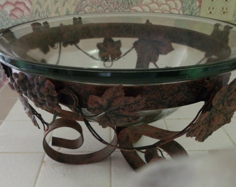 Iron Stand with Glass Bowl Bronze Color