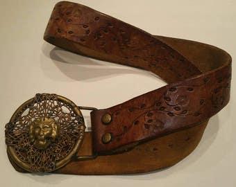 Vintage leather belt, 35 inches, with ornate buckle, boho belt