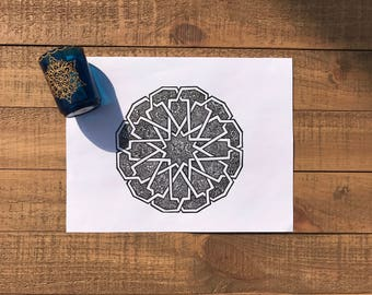 Hand Drawn Geometric Pattern w Henna Print