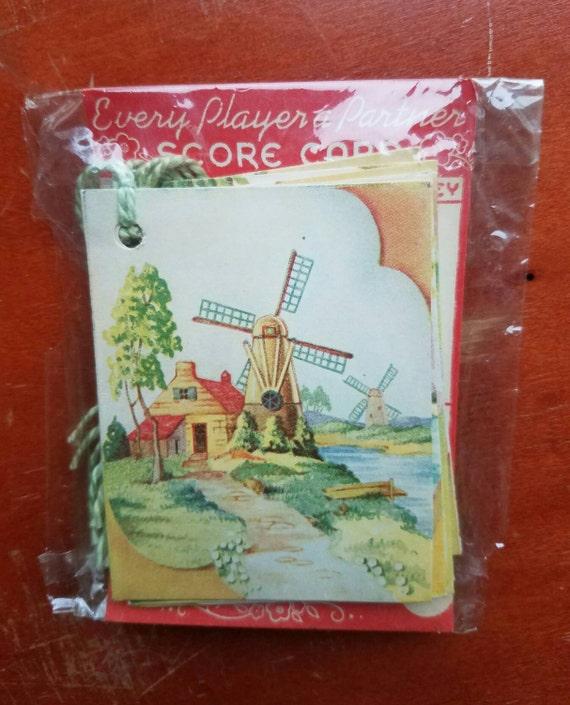 Eight vintage bridge tallies. Bridge tally. Cottage. Windmill. Sailboat, Vintage games, Mid century ephemera. Card games.