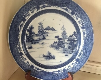 Vintage Mottahedeh Blue and White Asian Scene Decorative Plate on Easel
