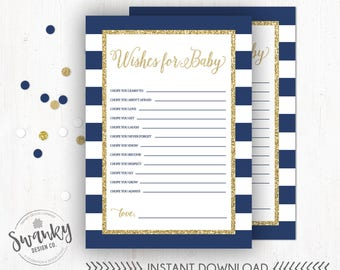 Navy and Gold Wishes for Baby, Wishes for Baby Card, Baby Shower Printable, Boy Baby Shower Printable, Wishes for Baby Boy, Instant Download