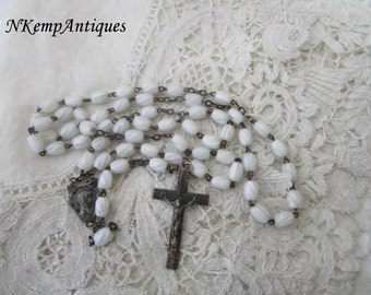 1930's glass rosary French