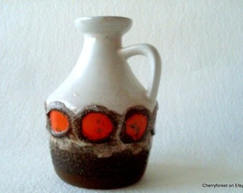 Strehla 999 botlle / Pitcher vase with lava decor, orange and brown Mid Century Modern East German art pottery, pop art vase