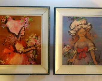 Vintage Framed  Prints of  Girls With Flowers, 1960's Springtime