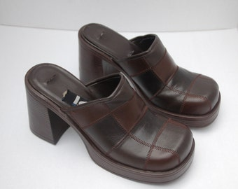 Brown Patchwork Platform Clogs