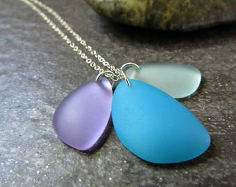 Stacked Sea Glass Pendant Necklace in Sterling Silver, 14K Gold Filled or Rose Gold Fill, Multi-Color Green Blue Purple- Beach Glass Jewelry