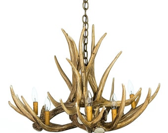 Antler Chandelier, D6 Faux Antler Chandelier, Rustic Lighting