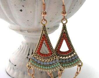 Multi Colour Triangular Earrings - Handmade Earrings